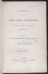 Journal Of A West Indian Proprietor -Title Page